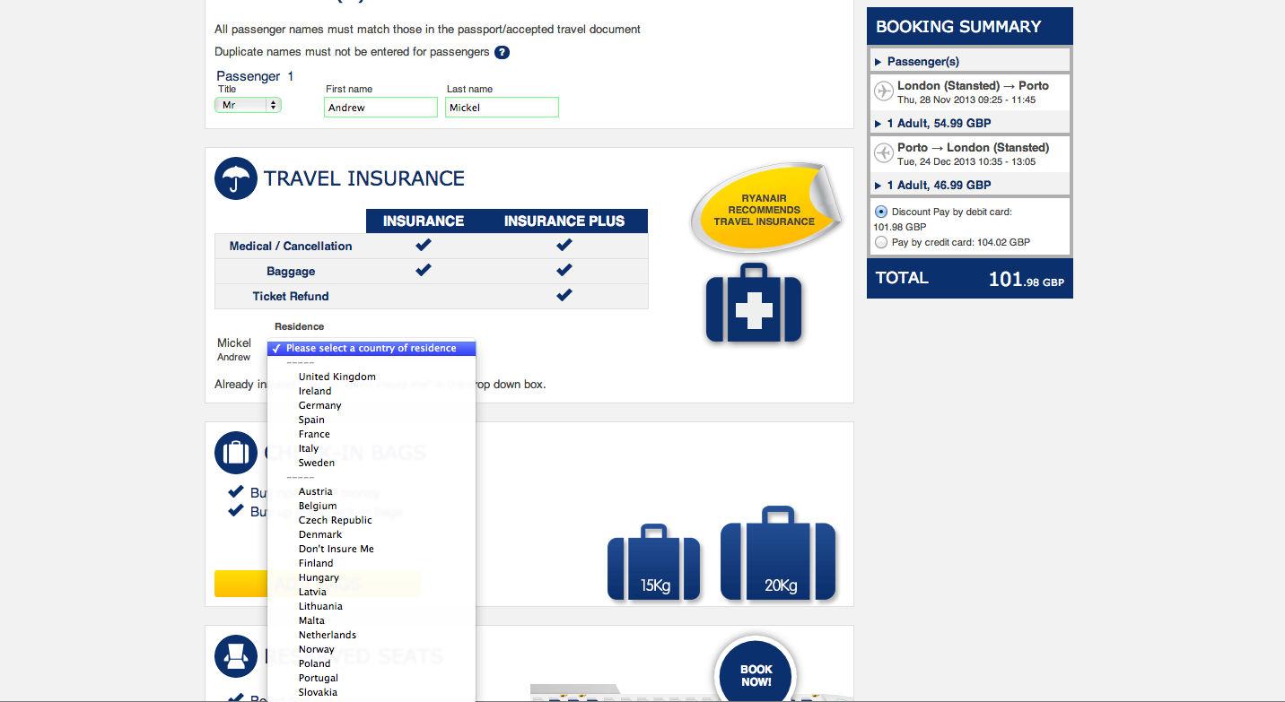 Ryanair insurance page